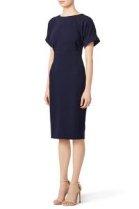 navy cuff sleeve dress